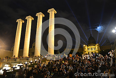Square of Spain in Barcelona, Catalonia. Editorial Image