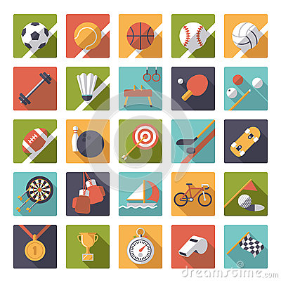 Free Square Sports Icons Flat Design Vector Set. Stock Photos - 49456383