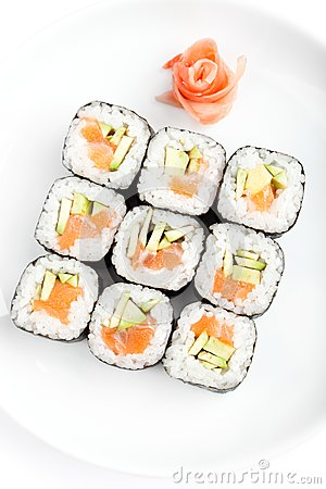 Square of sushi rolls with sashimi