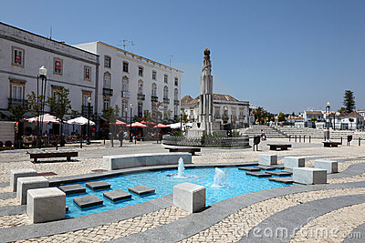 Square in Tavira, Portugal Editorial Stock Photo