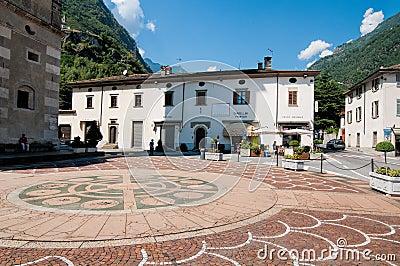 Square in Tirano Editorial Stock Image