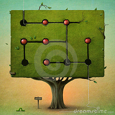 Square tree with apples.