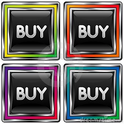 Square vector button with buy icon