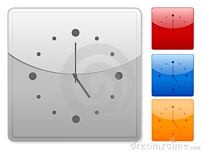 Square web buttons clock