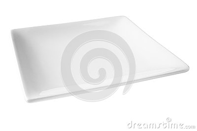 Square White Plate Isolated on White