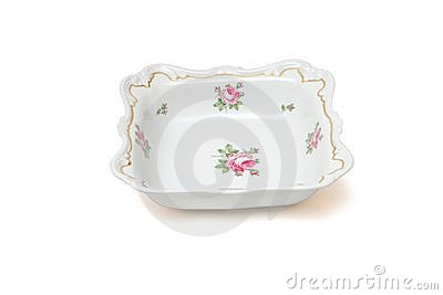 Square white porcelain dish with roses isolated