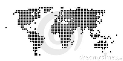 Squared black and white world map