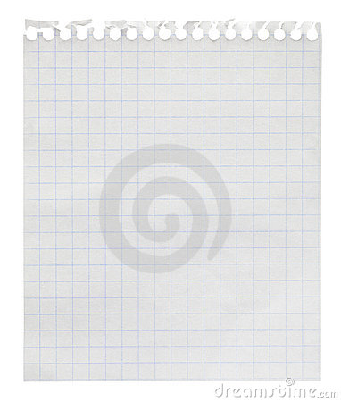 Squared paper loose-leaf note sheet
