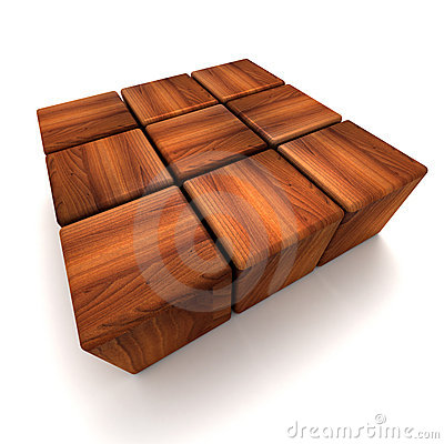 Squared shape made of wooden blocks