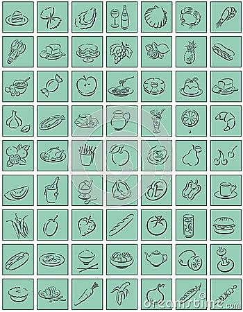 Squares with food symbols