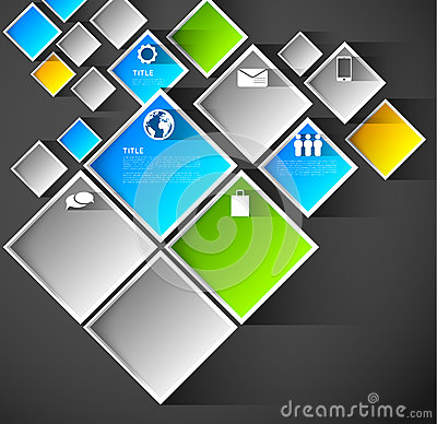 Squares infographic template background
