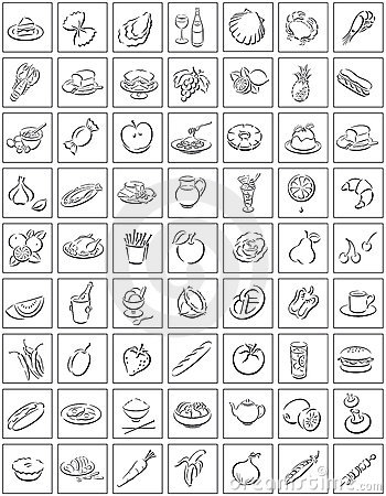 Free Squares With Food Symbols Royalty Free Stock Photos - 6072738