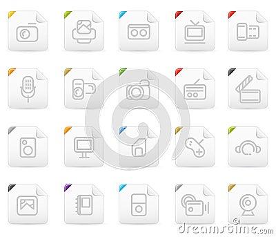 Squaro icon set: Media and Electronics