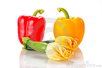 Squash blossoms and peppers