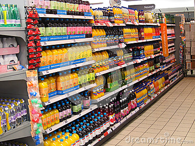 Squash Or Cordial On A Supermarket Shelf Editorial