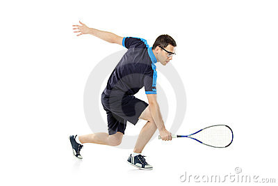 A squash player playing