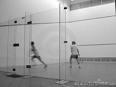 Squash players in court