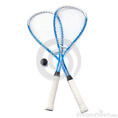 Squash rackets over white
