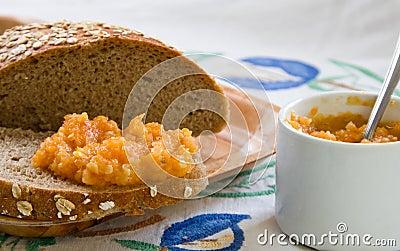 Squash spread over the in-house bread