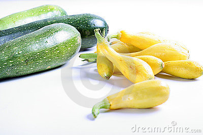 Squash & zucchini on white