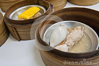 Squid Dimsum in bamboo container closed up