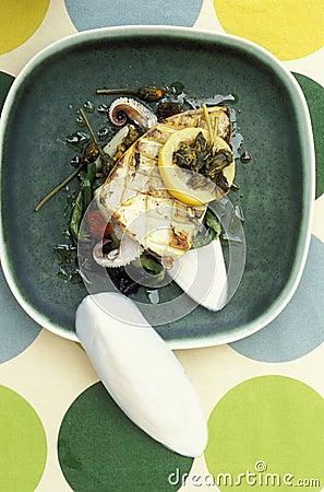 Squid with leeks