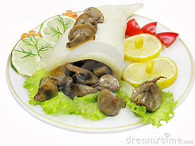 Squid meal with mushrooms