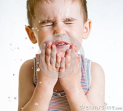 Kid Washing Face Squint little child washing