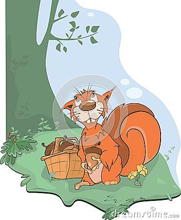 The squirrel and acorns