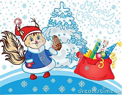 Squirrel as Santa Claus