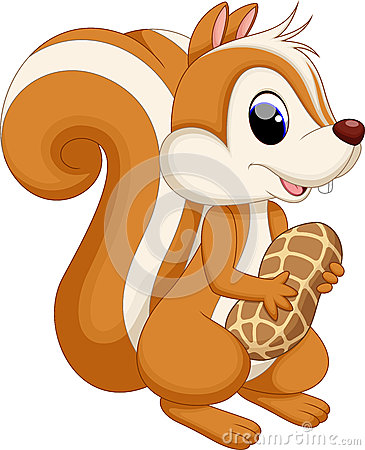 Squirrel Cartoon With Nut Royalty Free Stock Photo - Image: 30568625