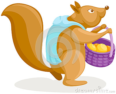 Squirrel with fruit of basket