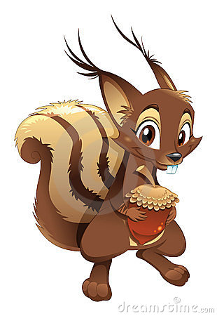 Squirrel, funny cartoon character