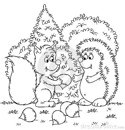 Squirrel and hedgehog with nuts