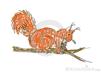 Squirrel with pine cone