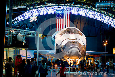 SR-71 Blackbird and space shuttle Discovery  at the National Air and Space Museum Editorial Stock Photo
