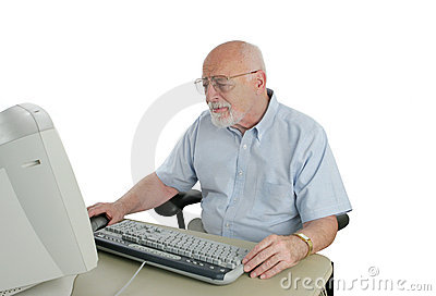 Sr Man Confused by Computer