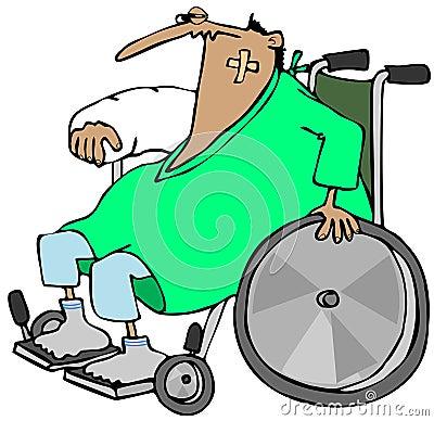 Sårad man i en rullstol