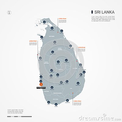 Sri Lanka infographic map vector illustration. Vector Illustration