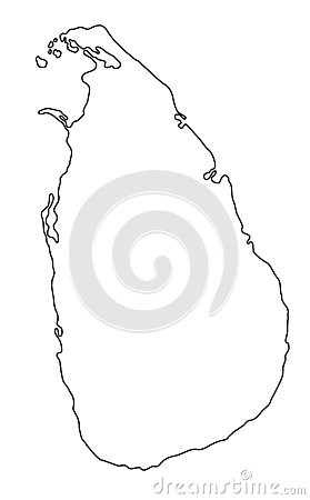 Sri Lanka map outline vector illustration Vector Illustration