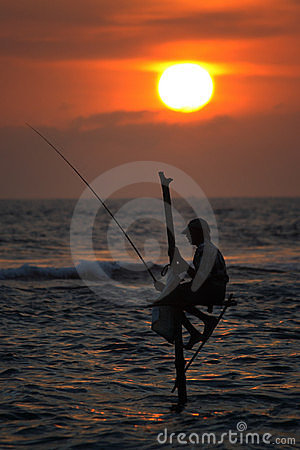 Sri Lanka: Stilt fishermen Editorial Stock Photo
