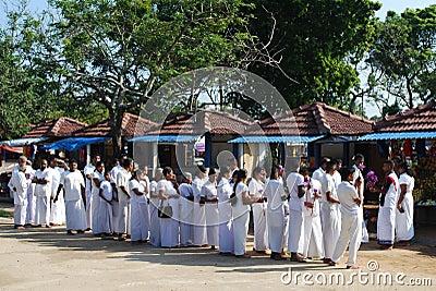 Sri Lankan Buddhist Worshippers Editorial Photo