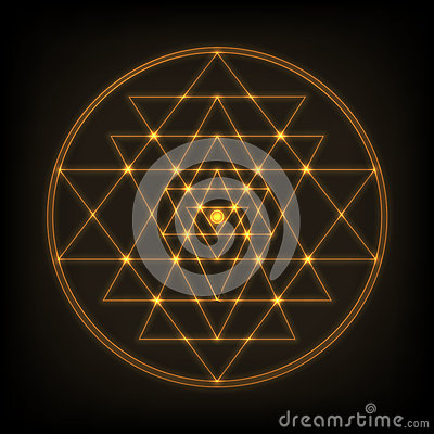 Free Sri Yantra - Symbol Of Formed By Nine Interlocking Triangles That Radiate Out From The Central Point. Sacred Geometry. Stock Images - 82562284