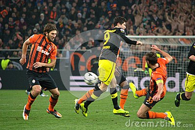 Srna against Lewandowski during a Champions League match Editorial Photography