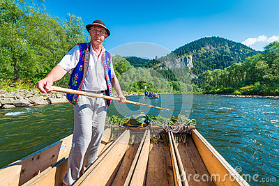 Sromowce Nizne, Poland - August 25, 2015. Dunajec River Gorge Editorial Stock Photo