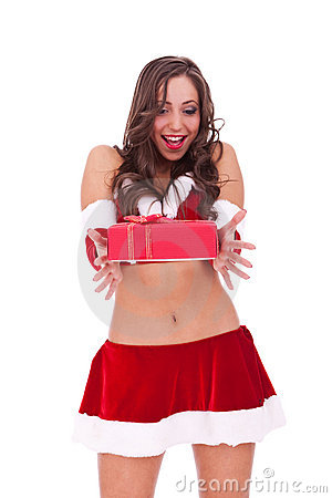 Srprised young santa woman with present