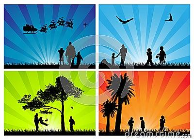 Säsongsbetonade silhouettes för familj