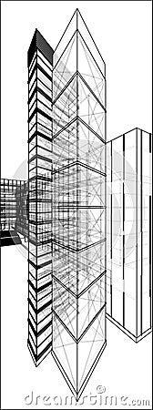 Städtischer Wolkenkratzer mit versteckter Linie Vektor 173