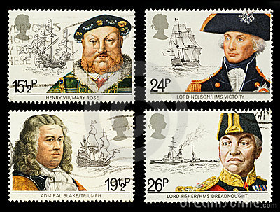 Stämplar för porto för britain historia sjö-
