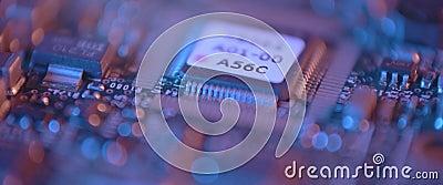 Stängning av det elektroniska kretskortet Makrointegrerad, kommunikation stock video